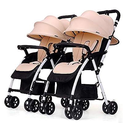 Silla De Paseo Gemelar AleacióN De Aluminio Plegable Ligera El Coche De Bebé Puede Sentarse