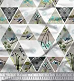 Soimoi Rosa Baumwolljersey Stoff geometrisch, Blumen &