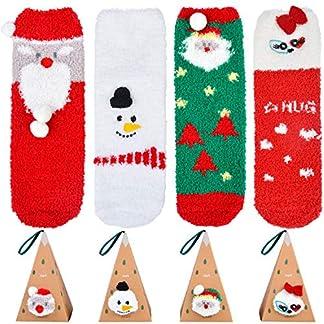 Bageek Calcetines de Navidad, 3 Pares Calcetines Navidad Mujer Santa Claus Muñeco de Nieve Calcetines de Felpa Cálidos Calcetines Navidad Regalo Calcetines Navidad Invierno Navidad Algodón Calcetines