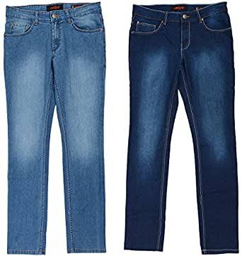 London Jeans Co. DNMX Men's Slim Fit Jeans - Combo of 2 (Light Blue and Dark Blue, 38)