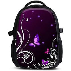 Mochila escolar para niños y niñas con compartimentos de MySleeveDesign - práctica para portátiles - Espalda y compartimentos acolchados, cómoda de llevar - con mucho espacio - Butterfly Light