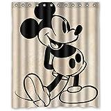 Custom Mickey Minnie Mouse Waterproof Polyester Fabric Bathroom Shower Curtain Standard Size 66(w)x72(h)