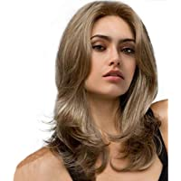 MZP Beauty Peluca Sintética Ondulada A Prueba De Calor Parte Media Rubia Pelucas Naturales De Mujer