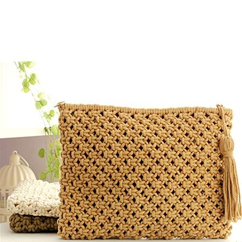 ZIHUINI Paket National Style gewebte Taschen Clutch aushöhlen Stroh Handtaschen Vintage Rattan Strandtasche String gestrickte Quaste Hand Tote -