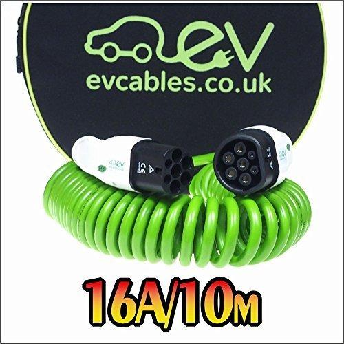 EV Cables CHC001-S(10M) Cavo di Ricarica per Le Auto Elettriche a Spirale con Il Sacchetto, 16A, 10M
