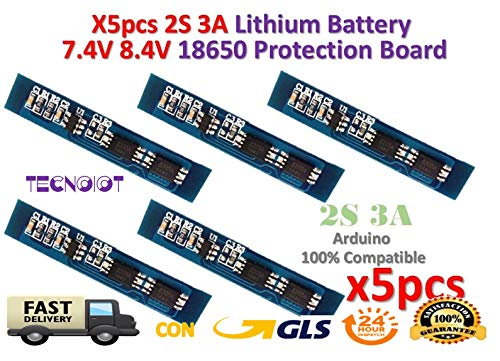 TECNOIOT 5pcs 2S 3A Li-ion Lithium Battery 7.4v 8.4V 18650 Charger Protection Board Analog Circuit Pack