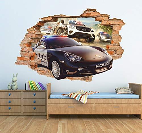 Polizei 3D Wandaufkleber Verfolgung Wandtattoo Abnehmbare Vinyl Aufkleber Kinderzimmer Wandkunst Kinder Rennen Decor -