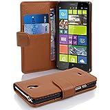 Cadorabo - Funda Nokia Lumia 1320 Book Style de Cuero Sintético en Diseño Libro - Etui Case Cover Carcasa Caja Protección con Tarjetero en MARRÓN-COGNAC
