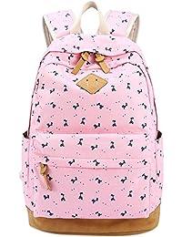 b4348988a79c9 Panegy Damen Mädchen Mode Design Blumendruck-Art Canvas Schulrucksack mit Laptop  Reisen Rucksack für Freizeit Camping Picknick…