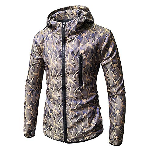 Xmiral Herren Camouflage Sweatshirt Regenjacke Lange Ärmel Printed Kapuzenjacke (M,Khaki)