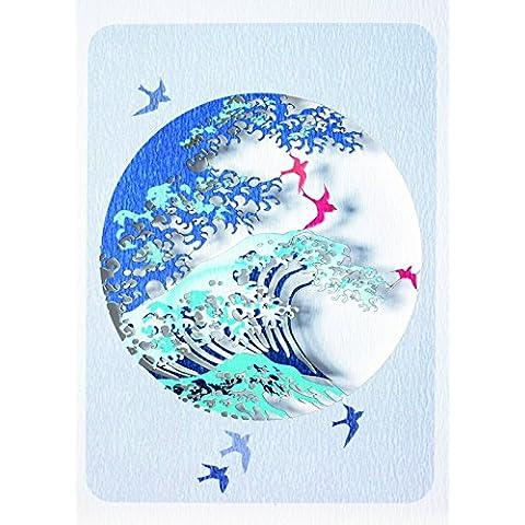 Forever Tarjetas de mano Modo de papel–Laser Cut–Tarjeta Wave Y Pájaros En Un Círculo PM279