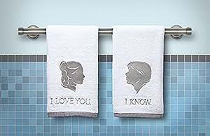 """Star Wars Han Leia et serviettes essuie-mains Inscription'I love you""""/""""I know"""" Officiellement produit sous licence Star Wars, The Empire Strikes Back """""""