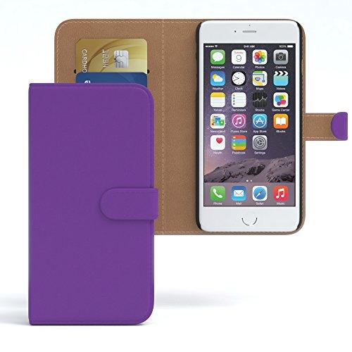 Apple iPhone 6S / 6 Tasche, EAZY CASE Book-Style Case Vintage, Premium Handyhülle mit Kartenfach, Schutzhülle Geldbeutel mit Standfunktion, Wallet Case in Schwarz Lila - Uni