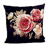 Internet Teinture de pivoine modèle canapé lit Home Decor taie d'oreiller Carré housse de coussin tissu en coton 45cm*45cm (Noir, Tissu de coton)