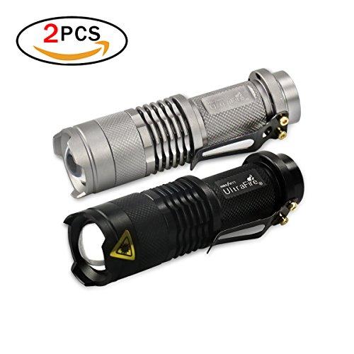 JER Taktische Taschenlampen, 2er Pack SK68 Q5 LED 3-Modi Mini Taschenlampen mit Einstellbare Fokus Zoom Handlampen für Outdoor, Camping, Notfälle (Schwarz & Silber)