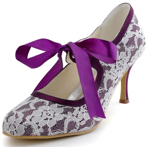 ElegantPark A3039 Escarpins Femme Ruban Talon Haut Bout Rond Dentelle Satin Stiletto Mary Janes Chaussures de Mariage Mariee Violet