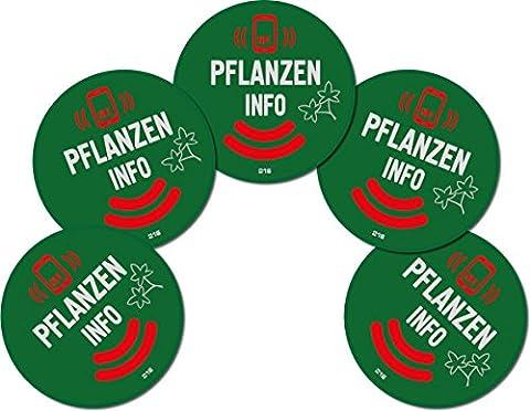 5 NFC Pflanzen Sticker Aufkleber NTAG216 Tags Etiketten Pflanzenschilder für Smartphone und Tablet
