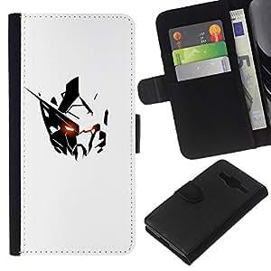 Supergiant (Minimalist Alien Robot White Black Iron) Dessin PU cuir Wallet style Skin Cas Case Coque étui de protection Pour Samsung Galaxy Core Prime / SM-G360