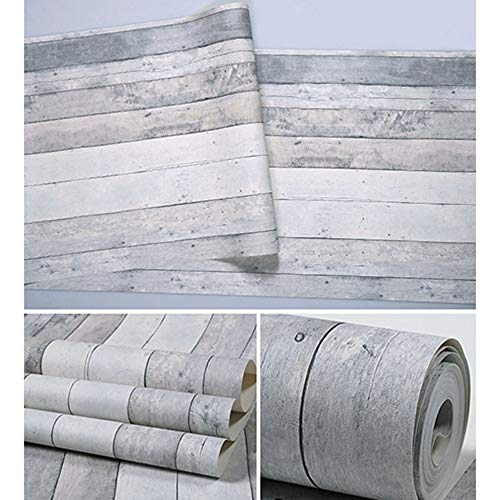 Junenoma Holz Tapete Wand Vintage Faux Holzplatte 20,8 '' x 31ft Abnehmbare Tapetenrollen Tapete Wandverkleidung Vorgefertigte Dekorative,Weiß (Tapete Weiße Abnehmbare)