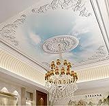 Yosot Gipskarton Des Weiß 3D Europäische Geprägte Decke Des Blauen Himmels Deckenwand Kundenspezifische Große Wandtapete-450cmx300cm