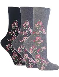 3 Pairs of Ladies Sock Shop Gentle Grip Socks, Various Designs/Colours, Ladies UK Size 4-8