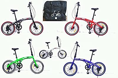 "20"" Folding bike - with carry bag, front & rear lights, kick stand comfy saddle"