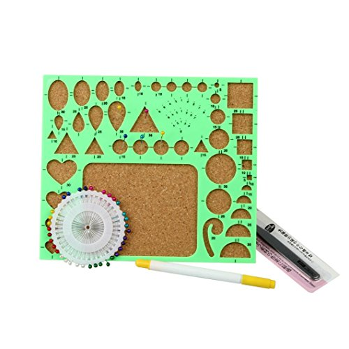 Covermason DIY Paper-Quilling Set Tools Template Mould Board Tweezer Pins Slotted Filigree/Mosaic Kit Art Craft (B)