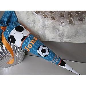 Fussball Petrol-orange neon Stoff + Papprohling + als Kissen verwendbar