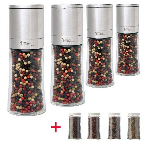 Pfeffermühle Salzmühle Gewürzmühle - Edelstahl (4 Stück im Set) - 150ml - unbefüllt - mit Keramik Mahlwerk (8-teilig - 4 Mühlen + 4 Ersatzgläser)