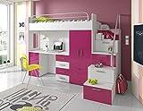 Furnistad | Hochbett für Kinder Sky | Kinderhochbett mit Treppe, Schreibtisch und Schrank (Option rechts, Weiß + Rosa)