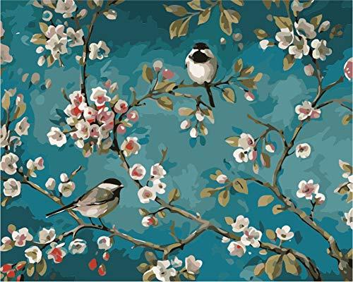 WOWDECOR Malen nach Zahlen Kits Geschenk für Erwachsene Kinder, DIY Ölgemälde Home Haus Dekor - Pflaume Blühen Liebe Vögel Elster 16 x 20 Zoll (X7048, Rahmen)