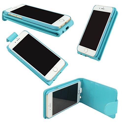 iPhone 5C Fall, hellblau blau Flip Wallet PU-Leder Case Cover mit passenden Rahmen mit 2Kartenschlitzen für Apple iPhone 5C