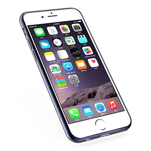 iPhone 6S Plus Hülle Cover Case - iHarbort® Schutz Apple iPhone 6 6S Plus klare weiche TPU Gel-Silikon-Kastenabdeckung mit Innen Metall beschichtete Kante (transparente Rückseite + farbig überzogene F dunkelblau