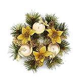 belupai Bunte Luxus Weihnachtskr?nze mit B?Gen Dekorationen Indoor Outdoor K¨¹nstliche Weihnachtskugeln Girlande F¨¹r Baum T¨¹r H?ngen (Gold-22 cm)