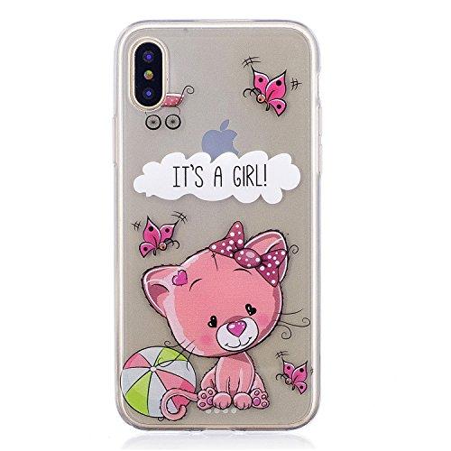 iPhone X Hülle, Voguecase Silikon Schutzhülle / Case / Cover / Hülle / TPU Gel Skin für Apple iphone X(Mädchen im bunten Kleid) + Gratis Universal Eingabestift IT'S A GIRL