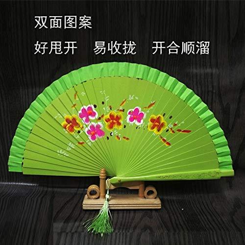 MWYMSS Faltfächer, Chinesische Klassische Carving Blume Handgemachte Holz Knochen Hohl Faltfächer Grün Fan Für Büro Wohnzimmer Schlafzimmer Wanddekoration Dekoration - Klassische Carving