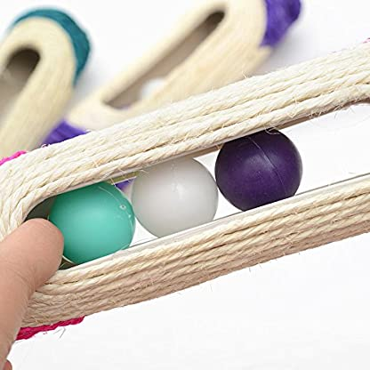 OWIKAR Cat Scratcher Sisal Rope Woven Scratching Barrel Toys with Ball Trapped Ball Training Cat Catch Sisal Post Hollow Column, Pink Purple Green Random Color,1 pack 6