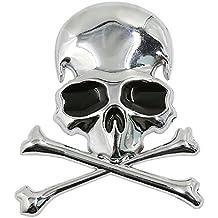 SODIAL(R) Metal 3d Wicked Skull Bone Forma motocicleta coche emblema insignia adhesivo