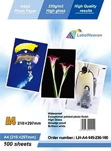 LabelOcean Premium Fotopapier A4 230g/qm High Glossy hochglänzend wasserfest 100 Blatt