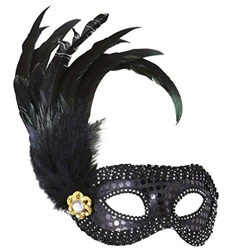 Widmann–Maske, Modell: Domini, mit schwarzen Pailletten, Strass und Federn (Pailletten Unter $10)