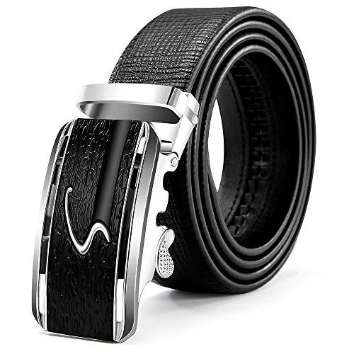 ITIEZY Cinturón de Cuero para Hombres, Cinturones de Piel Clásico Negro Marrón Azul con Hebilla Automática