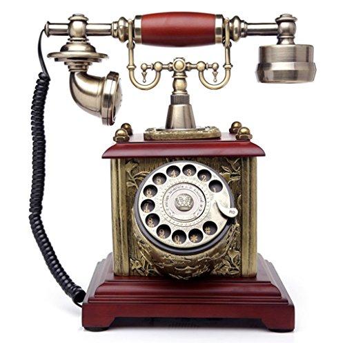 Antique Holz Telefon (WTL Retro Telefon Kreatives Rotary Antique European Style Massivholz Vintage Telefon Haushalt Büro Plane Fixed Telefon)