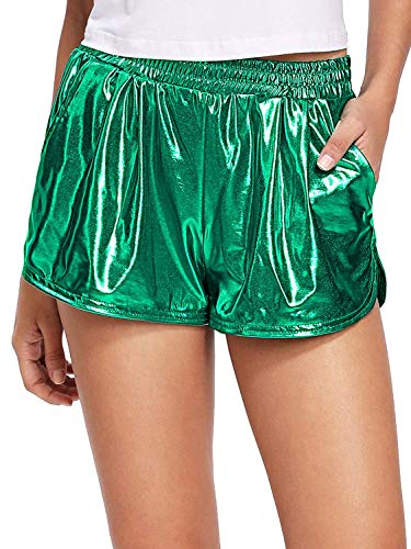 Rayon Kordelzug Hose (Pumpkino Damen Metallic-Shorts, glänzende Hose, Yoga, glitzernd, mit Kordelzug, elastischer Taille, Rave Booty Dance - Grün - Groß)