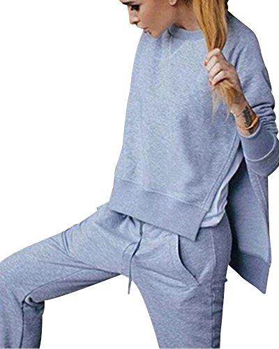 Femme Manche Longue Encapuchonné Crop Tops + Joggings de Pantalon de Yoga Legging Casual Clubwear Gris