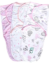 Baby Swaddle Wrap Blanket for Newborn and Infant, 0-3 Month Swaddlers Sleep Sack with Adjustable Wings, 3 Pack Breathable Wrap Sack for Girls
