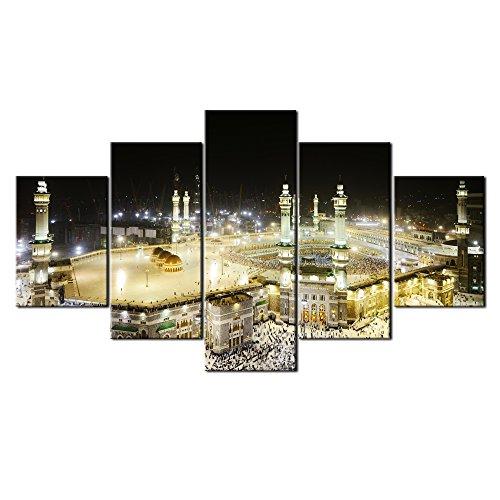 VIIVEI 5 Panel Große HD Gedruckte Malerei gerahmt fertig Zum Aufhängen Moschee Moderne Islamische Muslimische Ramadan Dekoration Wand Kunst Leinwand Kunst Home Decor für Wohnzimmer