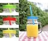 Gläser mit buntem Uni Deckel + Strohhalm Trinkglas Glas bunt mit Henkel 350ml 4er Set Cocktailglas Bowleglas modern ausgefallen