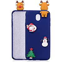Für Samsung Galaxy J5 2017 EU Version Weihnachten Series Fall Abdeckung, HengJun Weihnachten Slim Soft Silikon Fall 3D Kreative Mode Coole Cartoon Nette Shockproof Gummi Fall für Samsung Galaxy J5 2017 EU Version - Hirsch & Weihnachtsmann Blau