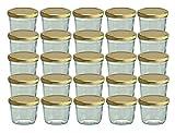 Cap+Cro To 82 Lot de 25 bocaux en verre pour conservation de confiture Couvercles dorés Capacité 230ml