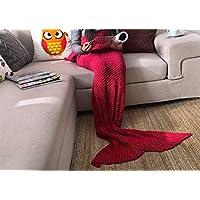 XILIUHU Cola de Sirena cobija Tejida para niños y Adultos Suaves y cómodos Sacos de Dormir